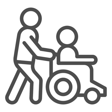 Help disabled line icon. Man on wheelchair vector illustration isolated on white. Disability people help outline style design, designed for web and app. Eps 10