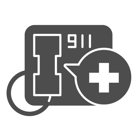 Emergency call solid icon. 911 support vector illustration isolated on white. Telephone call glyph style design, designed for web and app. Eps 10