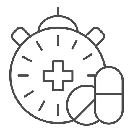 Medication time thin line icon. Pills and clock vector illustration isolated on white. Pharmacy time outline style design, designed for web and app. Eps 10