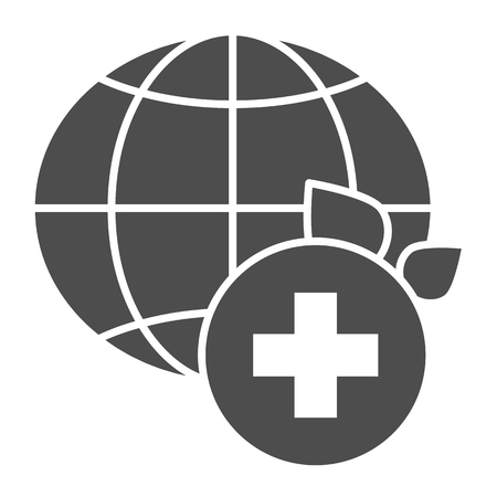 World medicine solid icon. Global healthcare vector illustration isolated on white. World medical community glyph style design, designed for web and app. Eps 10.
