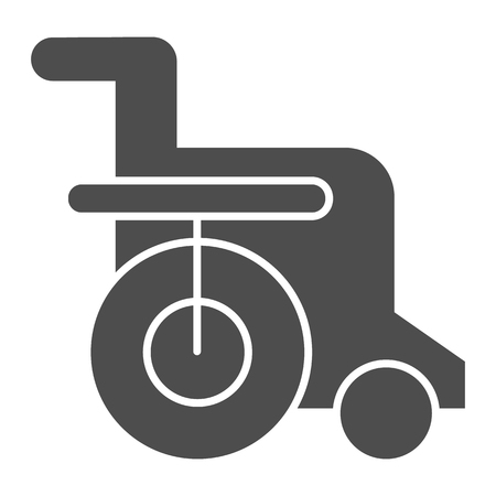 Disabled chair solid icon. Wheelchair vector illustration isolated on white. Handicapped glyph style design, designed for web and app. Eps 10. Illustration
