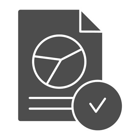 Verified chart document solid icon. Checked report vector illustration isolated on white. Paper with checkmark glyph style design, designed for web and app. Eps 10.