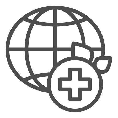 World medicine line icon. Global healthcare vector illustration isolated on white. World medical community outline style design, designed for web and app. Eps 10. Illustration