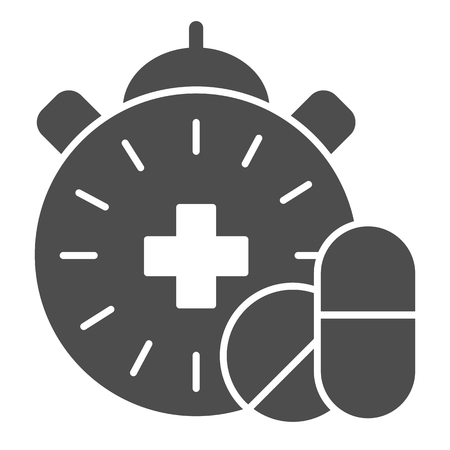 Medication time solid icon. Pills and clock vector illustration isolated on white. Pharmacy time glyph style design, designed for web and app. Eps 10. Stock Illustratie