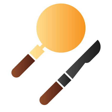 Scalpel and lens flat icon. Medical equipment color icons in trendy flat style. Surgical instruments gradient style design, designed for web and app.