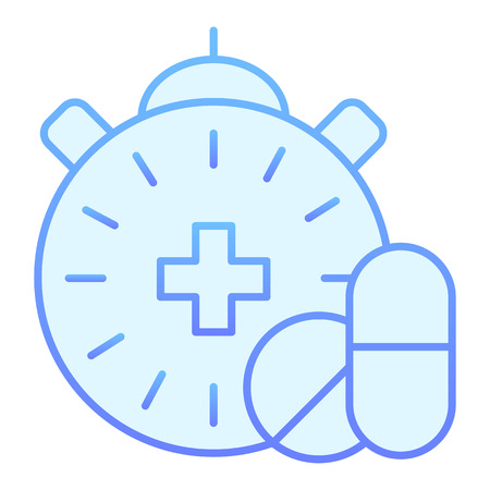 Pharmacy time flat icon. Medication time blue icons in trendy flat style. Pills and clock gradient style design, designed for web and app. Stock Illustratie