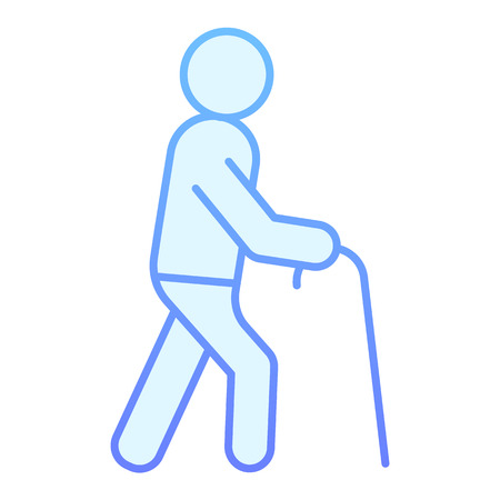 Old person flat icon. Old man blue icons in trendy flat style. Man with walking stick gradient style design, designed for web and app