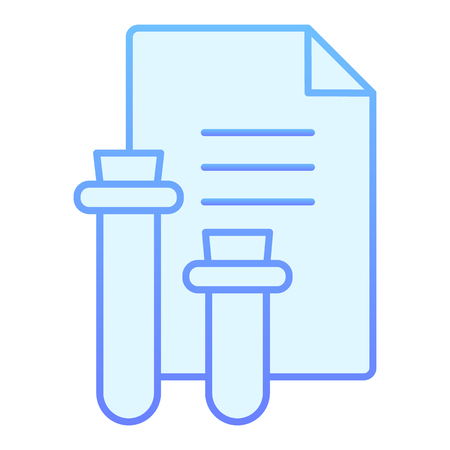 Medical report flat icon. Blood test result blue icons in trendy flat style. Flask and document gradient style design, designed for web and app. Ilustração