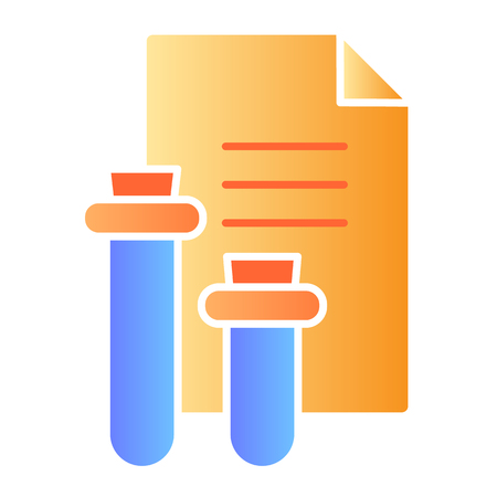 Medical report flat icon. Blood test result color icons in trendy flat style. Flask and document gradient style design, designed for web and app.
