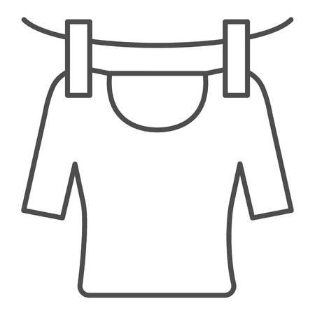 Tshirt on rope thin line icon. Drying tshirt vector illustration isolated on white. Laundry outline style design, designed for web and app.