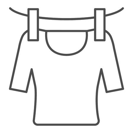 Tshirt sur l'icône de la ligne fine de la corde. Illustration vectorielle de tshirt de séchage isolée sur blanc. Conception de style de contour de blanchisserie, conçue pour le Web et l'application.