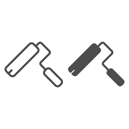Paint roller line and glyph icon. Painter vector illustration isolated on white. Paint tool outline style design, designed for web and app.  イラスト・ベクター素材