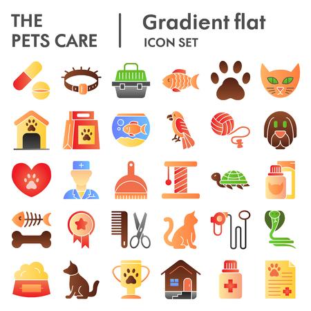 Cuidado de mascotas conjunto de iconos planos, colección de símbolos veterinarios, dibujos vectoriales, ilustraciones de logotipos, paquete de pictogramas degradados de color de signos animales aislado sobre fondo blanco, eps 10.