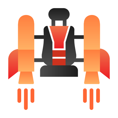 Jetpack flat icon. Jetpack with a chair color icons in trendy flat style. Future technology gradient style design, designed for web and app. Eps 10.