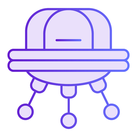 UFO flat icon. Space aliens violet icons in trendy flat style. Spaceship gradient style design, designed for web and app. Eps 10. Vettoriali