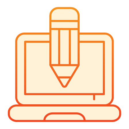 Pencil and notebook flat icon. Creative profession orange icons in trendy flat style. Laptop and pencil gradient style design, designed for web and app. Eps 10
