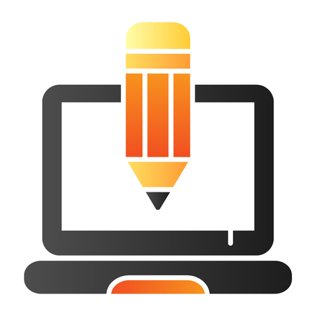 Pencil and notebook flat icon. Creative profession color icons in trendy flat style. Laptop and pencil gradient style design, designed for web and app. Eps 10