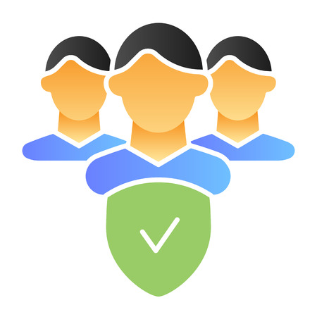Checked group flat icon. Verified team color icons in trendy flat style. Partnership and checkmark gradient style design, designed for web and app. Eps 10