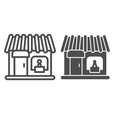 Store line and glyph icon. Showcase vector illustration isolated on white. Shop outline style design, designed for web and app. Eps 10.