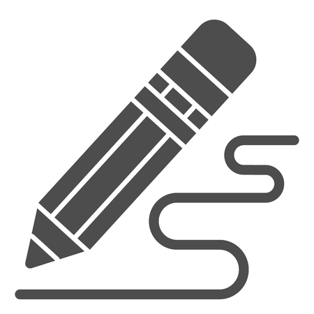 Pencil drawing solid icon. Pencil and line vector illustration isolated on white. Writing tool glyph style design, designed for web and app. Eps 10.