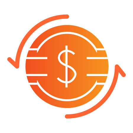 Dollar exchange flat icon. Dollar coin with arrows color icons in trendy flat style. Dollar rate gradient style design, designed for web and app. Eps 10.