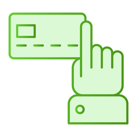 Index finger pointing at credit card flat icon. Plastic card green icons in trendy flat style. Hand pointing at credit card gradient style design, designed for web and app. Eps 10.