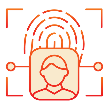 Fingerprint user recognition flat icon. Focus with fingerprint sensor red icons in trendy flat style. Person authentication gradient style design, designed for web and app. Eps 10. Çizim