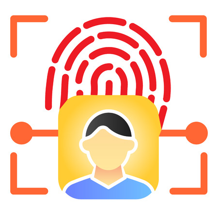 Fingerprint user recognition flat icon. Focus with fingerprint sensor color icons in trendy flat style. Person authentication gradient style design, designed for web and app. Eps 10. Çizim