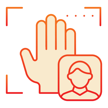 Palm user recognition flat icon. Focus with hand print red icons in trendy flat style. Person palm authentication gradient style design, designed for web and app. Eps 10.
