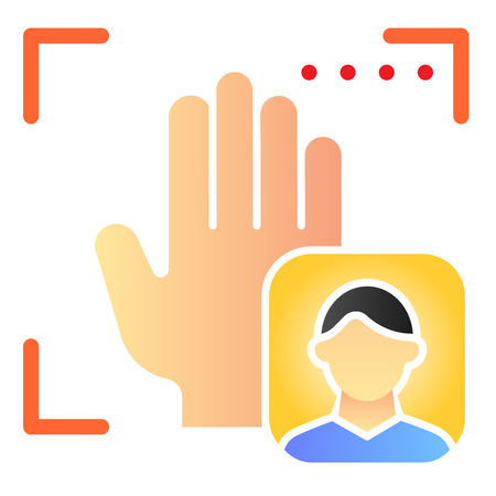 Palm user recognition flat icon. Focus with hand print color icons in trendy flat style. Person palm authentication gradient style design, designed for web and app. Eps 10. Çizim