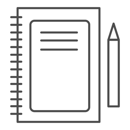 Notebook thin line icon. Notepad and pen vector illustration isolated on white. Pad outline style design, designed for web and app. Eps 10.