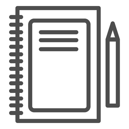 Notebook line icon. Notepad and pen vector illustration isolated on white. Pad outline style design, designed for web and app. Eps 10.