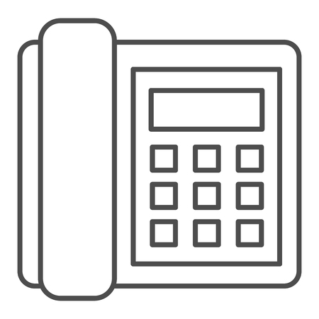 Landline phone thin line icon. Call vector illustration isolated on white. Telephone outline style design, designed for web and app. Eps 10. Illustration