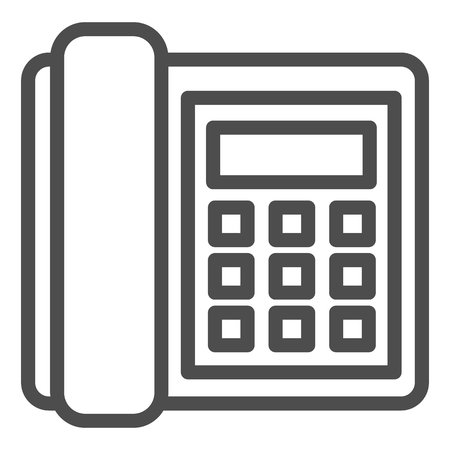Landline phone line icon. Call vector illustration isolated on white. Telephone outline style design, designed for web and app. Eps 10.