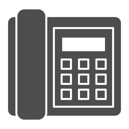 Landline phone solid icon. Call vector illustration isolated on white. Telephone glyph style design, designed for web and app. Eps 10.