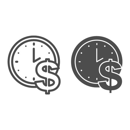 Time is money line and glyph icon. Clock and dollar vector illustration isolated on white. Watch outline style design, designed for web and app. Eps 10.