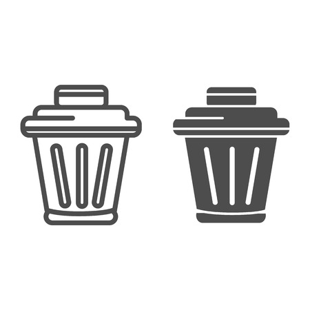 Bin line and glyph icon. Trash vector illustration isolated on white. Rubbish basket outline style design, designed for web and app. Eps 10.