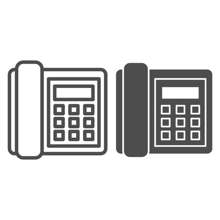 Landline phone line and glyph icon. Call vector illustration isolated on white. Telephone outline style design, designed for web and app. Eps 10.