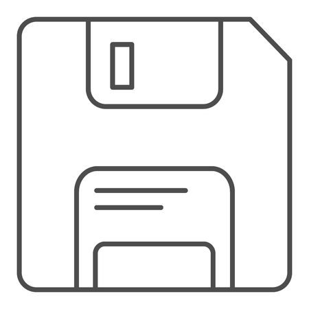 Diskette thin line icon. Memory vector illustration isolated on white. Data outline style design, designed for web and app. Eps 10.