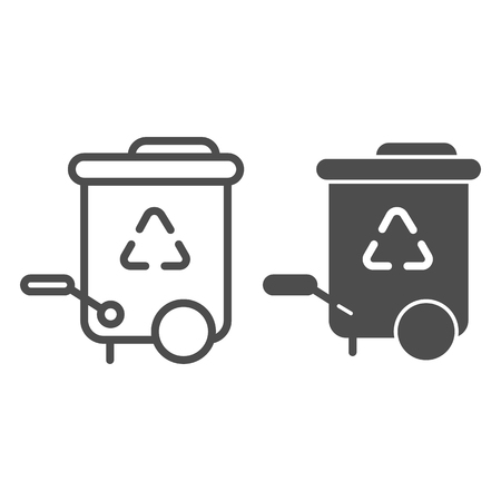 Recycle bin line and glyph icon. Reuse vector illustration isolated on white. Trash outline style design, designed for web and app. Eps 10. Vecteurs