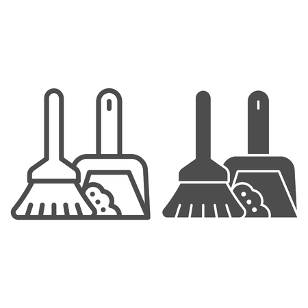 Broom and dustpan line and glyph icon. Cleaning tools vector illustration isolated on white. Household outline style design, designed for web and app. Eps 10.