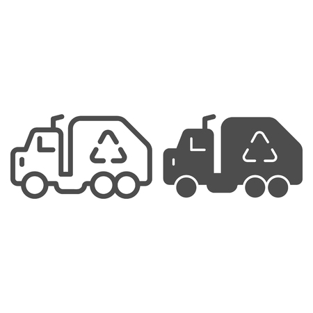 Garbage truck line and glyph icon. Trash car prohibited vector illustration isolated on white. Vehicle outline style design, designed for web and app. Eps 10. Vectores