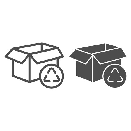 Cardboard box recycle line and glyph icon. Package recycling vector illustration isolated on white. Paper box outline style design, designed for web and app. Eps 10.