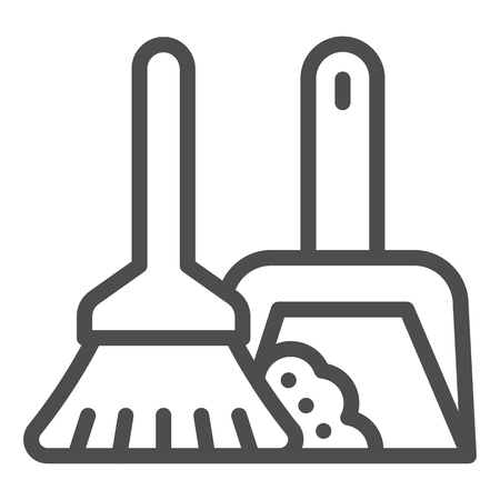Broom and dustpan line icon. Cleaning tools vector illustration isolated on white. Household outline style design, designed for web and app. Eps 10. Illusztráció