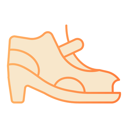 Woman shoes with clasp flat icon. High-heeled sandals orange icons in trendy flat style. Footwear gradient style design, designed for web and app. Eps 10