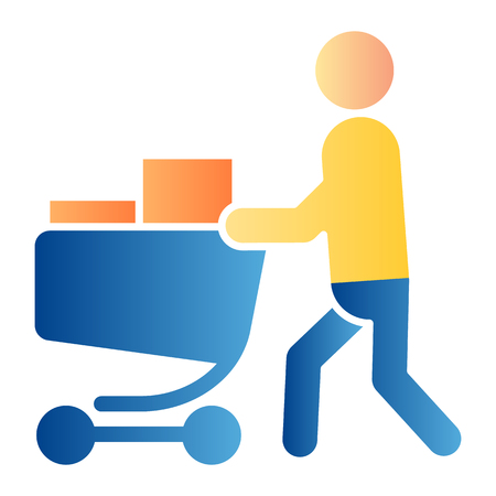 Buyer with full cart flat icon. Person with a full grocery cart color icons in trendy flat style. Shopping gradient style design, designed for web and app. Eps 10.