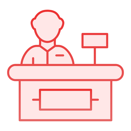 Cashier flat icon. Supermarket cashier pink icons in trendy flat style. Cash gradient style design, designed for web and app. Eps 10.