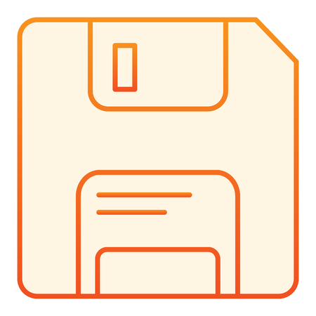Diskette flat icon. Data orange icons in trendy flat style. Memory gradient style design, designed for web and app. Eps 10.