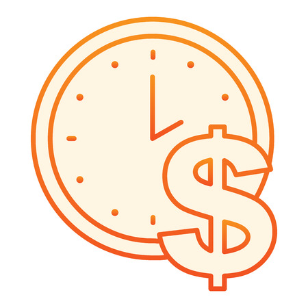 Time is money flat icon. Clock and dollar orange icons in trendy flat style. Watch gradient style design, designed for web and app. Eps 10.