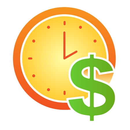Time is money flat icon. Clock and dollar color icons in trendy flat style. Watch gradient style design, designed for web and app. Eps 10.